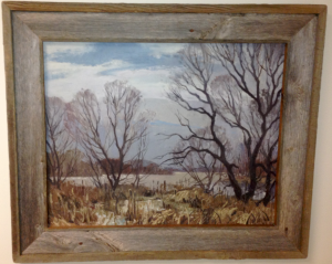 Barnwood Frame with Trees and Lake