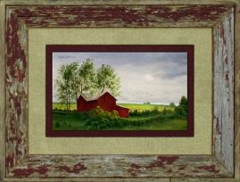 Barnwood Frame with Red House
