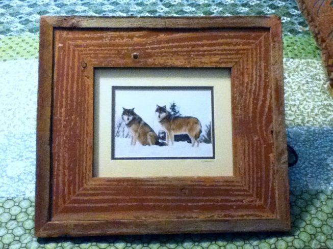 Barnwood Frame with Wolves