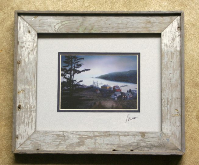 Barnwood Frame with Village
