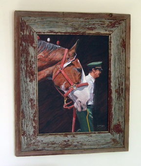 Barnwood Frame with Horse in Halter