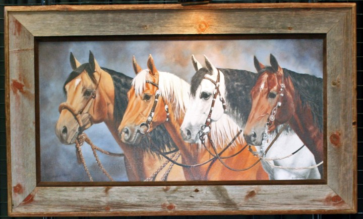 Barnwood Frame with Horses