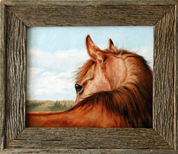 Barnwood Frame with Horse Portrait