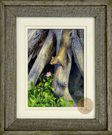 Barnwood Frame with Squirrel