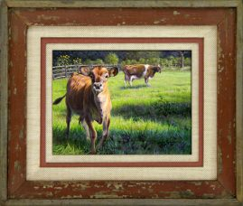 Barnwood Frame with Cows